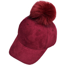 New Corduroy Baseball Cap With Faux Fur Pompon Winter Hat Women Baseball Caps Fashion Hip Hop Snapback Cap Suede Adjustable Hats(China)
