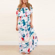 Summer Casual Womens Maxi Long Off Shoulder Flower Print Short Sleeve  Casual Sex Dress L30 May18 33210f04b039