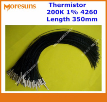 Fast Free ship 10pcs/lot NTC Temperature Sensor 200K 1% 4260 Copper Shell 5*25 200C L=350mm NTC Thermistor