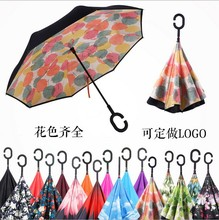 Reverse Folding Windproof Double Layer Inverted Self Stand Umbrella rain/sun women/men high quality 2017 flowe durable(China)