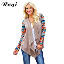 Rogi Cardigan Women Knitted Sweater Fashion Aztec Long Sleeve Tops Casual Long Cardigans Air Conditioning Asymmetrical Shirts