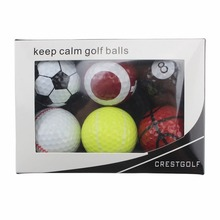 6pcs/pack Novelty Sports Practice Golf balls ballen Two Layer Golf pelotas Assorted Golf Ball Driving Range Ball With Boxes(China)