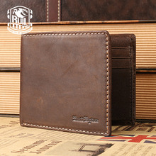 Ruil Hot Sale!Top quality Fashion Crazy Horse Genuine Leather Men Purse Wallet coin pocket purse card Holder Free shipping