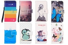 For Micromax A104 Canvas Fire 2 Phone Case With Card Slots,Cartoon Painting PU Flip Stand Wallet Leather Cover + Lanyard gift