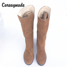 Careaymade-winter new with high tube warm soft cashmere Sen female line thick with Martin boots, female Genuine leather boots