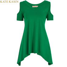 Kate Kasin Vogue T-Shirts Women Tops Cotton Black Green Sexy Shoulder Off Wide Hem Harajuku Style XL Casual Top Femme Tee Shirt(China)