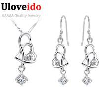Uloveido Heart Wedding Earrings and Necklace Set Silver Jewelry Womens Costume Jewelry Bridal Jewlery Sets for Women Gift T036(China)