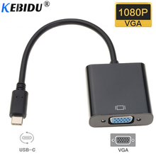 kebidu USB Type C To VGA Adapter Cable USB 3.1 Type-C Male To VGA Female Converter Adapter for Macbook Chromebook Pixel Laptop(China)