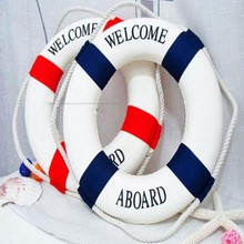 2016 New Hot Sale 1PC Fashion Mediterranean Family Adorment Life Buoy Crafts Living Room Decoration Nautical Home Decor GI870215