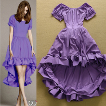 Newest 2017 Designer Runway Dress Women's Short Sleeve Slash Neck Dovetail Purple Ball Gown Party Dress(China)