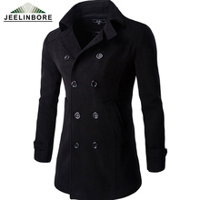 New Casual Double Breasted Coat Men British Style Warm Slim Fit Long Trench Coat Men Mens Wool Outwear Pea Coat Manteau Homme