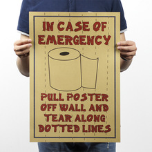 Rolls paper information In Case Of Emergency wall poster Vintage painting shop public toilet decor sticker for bathroom kitchen