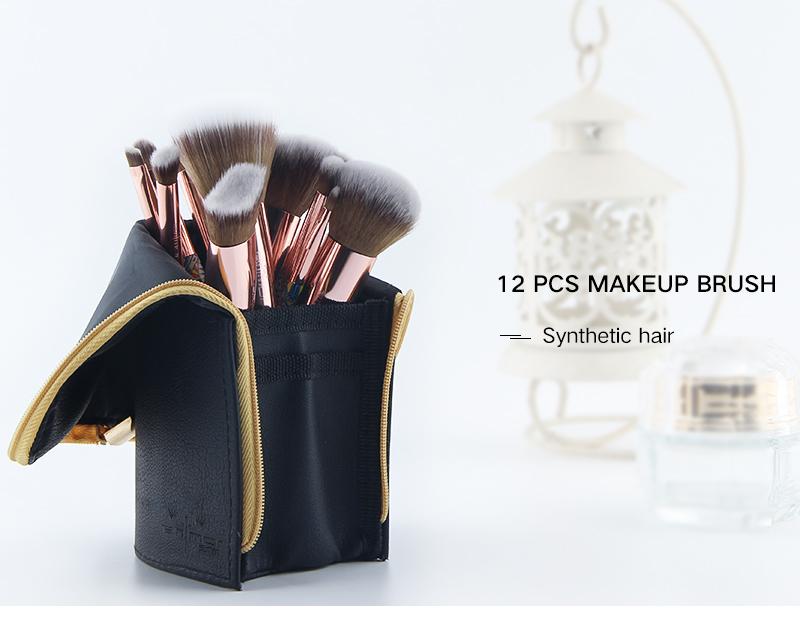 Anmor Marque Nouvelle Arrivée 12 pièces Synthétique Maquillage Pinceaux avec Unique Design Noir Sac Pinceaux Professionnels pour le Maquillage 2