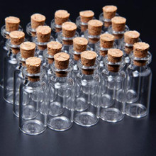 20 Pcs/set 16x35 mm Tiny Small Clear Cork Glass Bottles Vials 2 ml For Wedding Holiday Decoration