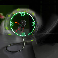 Centechia 2017 New Mini USB Fan gadgets Flexible Gooseneck LED Clock Cool For laptop PC Notebook Time Display high quality(China)