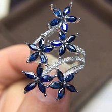 Fidelity Natural 2*4mm sapphire Rings s925 sterling silver personality flowers fine Jewelry for women Natural blue gemstone(China)