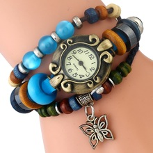 Gnova Platinum Eye Cat Stone Beads Bracelet Women Watch Butterfly Charm PU leather Ethnic Style Quartz Wristwatch A964(China)