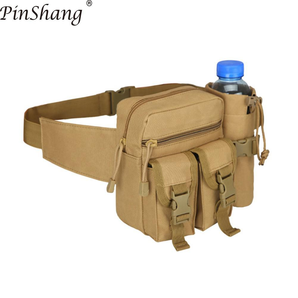 PinShang Men Waist Bag Tactical Waist Pack Pouch with Water Bottle Holder Waterproof 800D Nylon Belt Bum Bag Waist Bag Men ZK40(China)