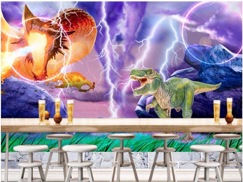 3d wallpaper custom photo Lightning dinosaur monsters at night scenery decor painting 3d wall murals wallpaper for walls 3 d<br>