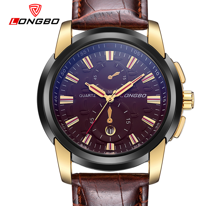 LONGBO Luxury Leather Strap Brand Watches Sports Men Water Resistant Business Watch Male Auto Date Army Wristwatches 80201<br><br>Aliexpress