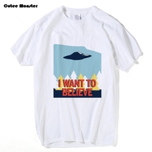 Jenni's Prints X-Files T Shirt Men I Want To Believe T-shirt 2017 Summer Short Sleeve Cotton X Files Tees Clothing 3XL(China)