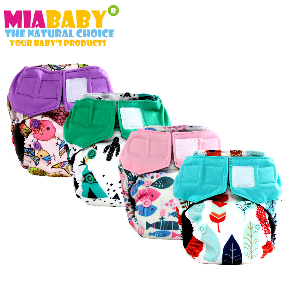 Miababy newborn Charcoal Bamboo AIO cloth diaper,double leaking guards, fits 0-3months baby or 6-19 lbs, washable and reusable