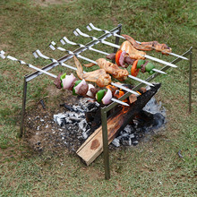 Simple separate type barbecue stove/Non-slip barbecue skewers grill outdoor portable BBQ tool set