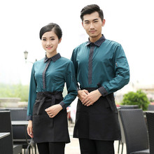 Hotel Uniform Autumn and Winter Hot Pot Restaurant Coffee Shop Female Hotel Waiter Korean Clothes with Long Sleeves(China)