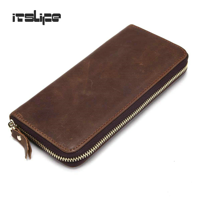 Mens Crazy Horse Leather Zipper Around Wallet large capacity leather coin purse cowhide clutch bag money case<br><br>Aliexpress