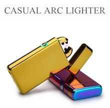 Noble Ultra-Thin 11mm Mirror LED Cross Double Arc Lighter USB Pulse Cigar Lighters Men Cigarette lighter Box Gifts-2013