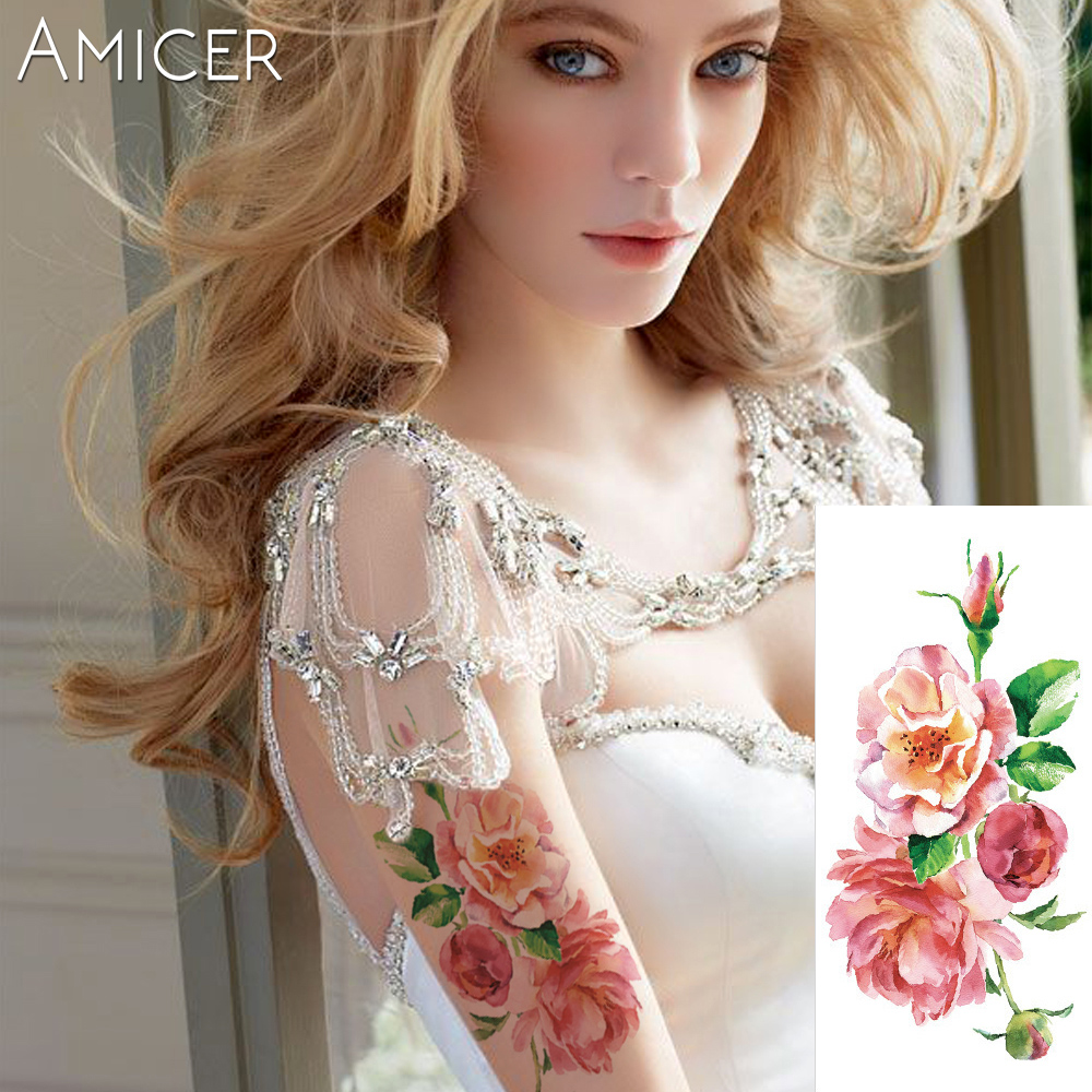 3D lifelike Cherry blossoms rose big flowers Waterproof Temporary tattoos women flash tattoo arm shoulder tattoo stickers 12