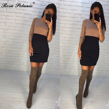 autumn new fashion women black and khaki patchwork pattern dress casual o-neck half sleeve  dresses Vestidos