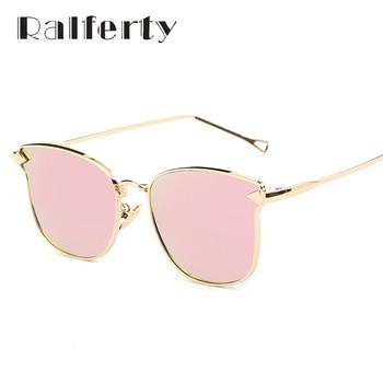 Ralferty Preto Branco Do Olho de Gato óculos de Sol Da Moda Óculos De Sol Das Mulheres Marca de Luxo Designer de Espelho Gêmeo-Vigas Óculos de Sol Oculos 2243