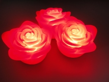 white red pink blue 4*6cm 3pcs small plastic Flameless Wax LED Floating Flower Candle Lights Timer Indoor/Outdoor(China)