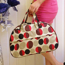 Fashion Waterproof Oxford Women bag Red Circles Pattern Travel Bag Large Hand Canvas Luggage Bags