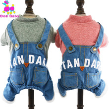Buy DOGBABY 100% Cotton Dog Coat Jackets Overalls Jeans Dog Clothes Four Legs Pants Dog Outfits Letter Print Winter Pet Apparel for $5.99 in AliExpress store