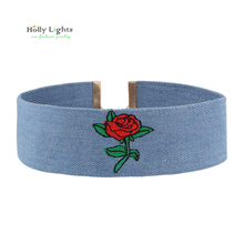 2017 embroidery choker necklace for women blue jeans flower chockers maxi boho bohemian ethic collar female jewellery new trendy