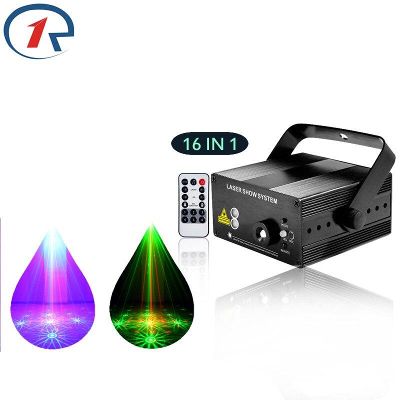 ZjRight IR Remote 16 patterns Red Green Laser Stage Light Sound control Mix Blue LED Effect light party bar KTV disco dj light<br><br>Aliexpress