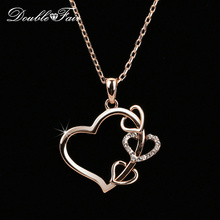Love Heart Cubic Zirconia Romantic Necklaces & Pendants Wholesale Rose Gold Color Fashion Wedding Jewelry For Women DFN459