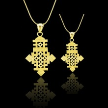Bulk Order Can Discount,Ethiopian Cross Pendant Necklace Chain Gold Filled Filled Ethiopia Item Jewelry Africa  Men 2pcs/lot
