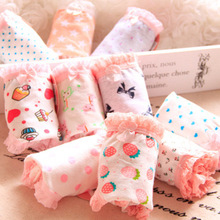 Buy new arrived young girl underwear 6pc/bag lace cotton lovely character children briefs girls panties pants wholesale