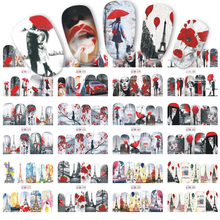 12 Designs Valentine Gift Sticker Couple/Maple Nail Designs Nail Art Water Transfer Decals for Nails Tips Sticker BN373-384(China)