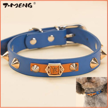 Handsome Spiked Rivets Studded Dog Collar For Small Dogs Puppy Cats Adjustable Necklace Pu Leather Pet Belt Accessories