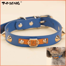 Handsome Spiked Rivets Studded Dog Collar For Small Dogs Puppy Cats Adjustable Necklace Pu Leather Pet Belt Accessories(China)
