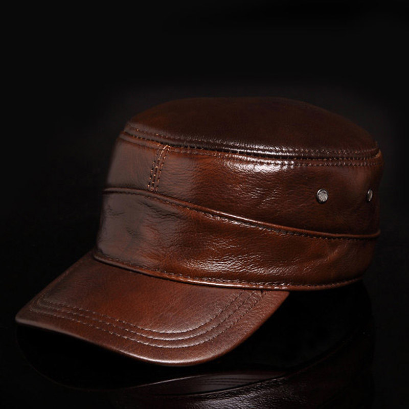 mens fashion genuine full grain cow leather top flat style ball hat cap three colors<br>