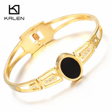 Kalen New TrendyStainless Steel Peru Lima Gold Color Water Drop Charm Bangle & Bracelet For Women Silver Color Hinged Wristbands