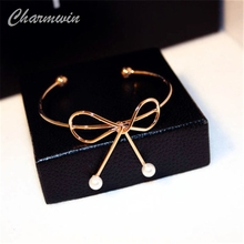 Simple Gold Color Bowknot Open Bangle Fashion Brand Classic Simulated Pearl Bangles Bracelets Jewelry Women PS169