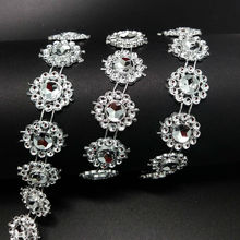 2 yards Gold Silver Sun Flower Diamond Rhinestone Bling Crystal Ribbon Wrap home Wedding decoration christmas(China)