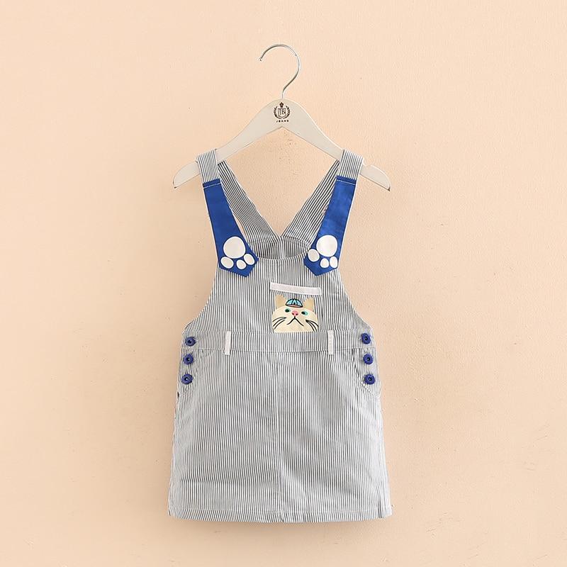 Striped dress baby spring 2017 girls wear cowboy suspenders  length qz-3919<br><br>Aliexpress