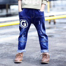 Middle Waist Hole Jeans Ripped Jeans For Kids Boys Straight Letter G Denim Pants Kids Blue Light Wash Casual Cowboy Trousers